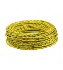 Витой провод 2х1,5 желтый шелк