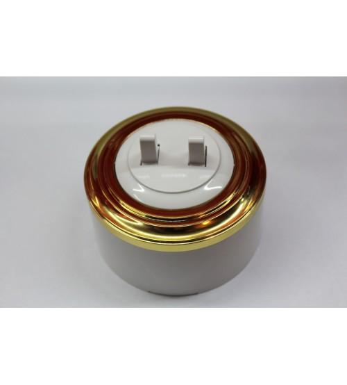 Выключатель 2-рычажковый, схема 5 (белый механизм, золото рамка, белый стакан)