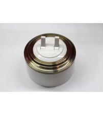 Выключатель 2-рычажковый, схема 5 (белый механизм, бронза рамка, белый стакан)