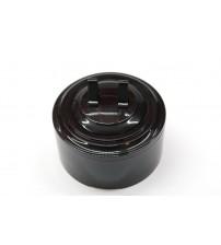 Выключатель 2-рычажковый, схема 5 (черный механизм, черная рамка, черный стакан)