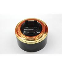Выключатель 2-рычажковый, схема 5  (черный механизм, золото рамка, черный стакан)