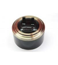 Выключатель 2-рычажковый, схема 5 (черный механизм, бронза рамка, черный стакан)