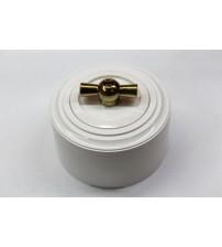Выключатель на 2 источника света поворотный, схема 5 (белый механизм, белая рамка, белый стакан, рычаг золото)