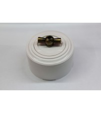Выключатель на 2 источника света поворотный, схема 5 (белый механизм, белая рамка, белый стакан, рычаг бронза)