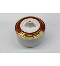 Выключатель на 2 источника света поворотный, схема 5 (белый механизм, золото рамка, белый стакан)