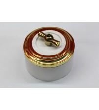 Выключатель на 2 источника света поворотный, схема 5 (белый механизм, золото рамка, белый стакан, рычаг золото)