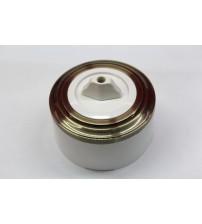Выключатель на 2 источника света поворотный, схема 5 (белый механизм, бронза рамка, белый стакан)