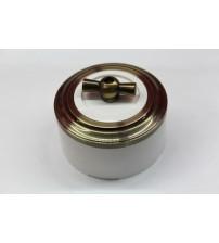 Выключатель на 2 источника света поворотный, схема 5 (белый механизм, бронза рамка, белый стакан, рычаг бронза)