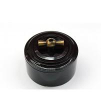 Выключатель на 2 источника света поворотный, схема 5 (черный механизм, черная рамка, черный стакан, рычаг бронза)