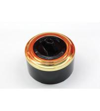 Выключатель на 2 источника света поворотный, схема 5  (черный механизм, золото рамка, черный стакан)