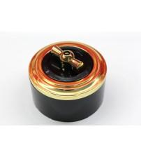 Выключатель на 2 источника света поворотный, схема 5  (черный механизм, золото рамка, черный стакан, рычаг золото)