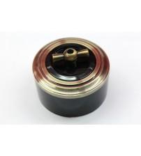 Выключатель на 2 источника света поворотный, схема 5 (черный механизм, бронза рамка, черный стакан, рычаг бронза)