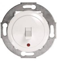 Одноклавишный выключатель (переключатель) однорычажковый на 2 направления с индикацией белый