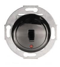 Одноклавишный выключатель (переключатель) однорычажковый на 2 направления с индикацией черный